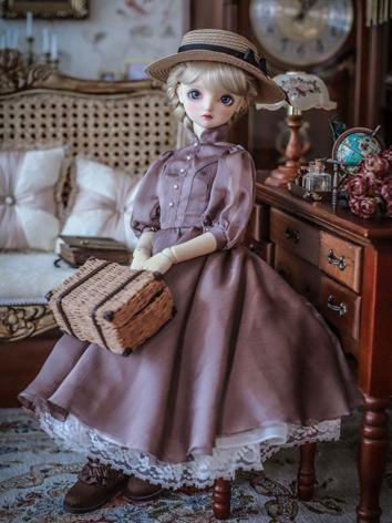 1/3 1/4 Clothes BJD Girl Purple Retro Dress for SD/MSD Ball-jointed Doll