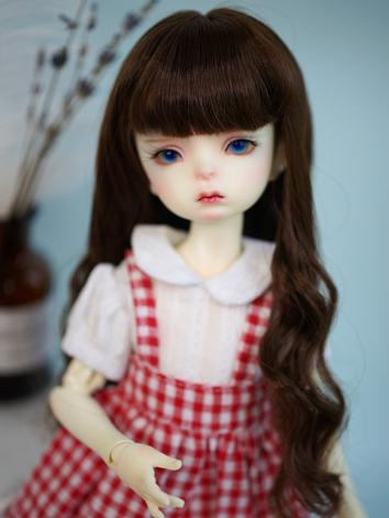 BJD Wig Girl Brown Long Curly Hair for YOSD Size Ball-jointed Doll