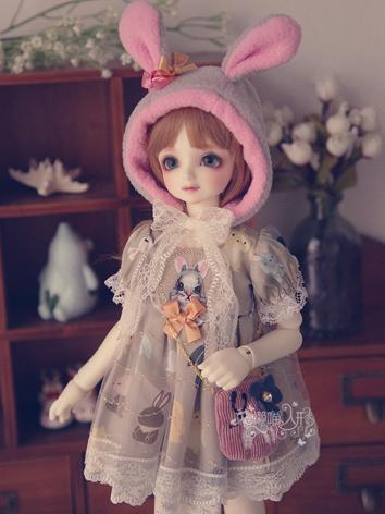 BJD Clothes Girl Cute Rabbit Dress Set for MSD Ball-jointed Doll