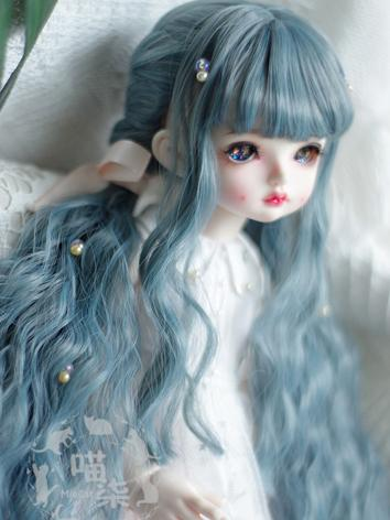 BJD Wig Girl Blue Curly Hai...
