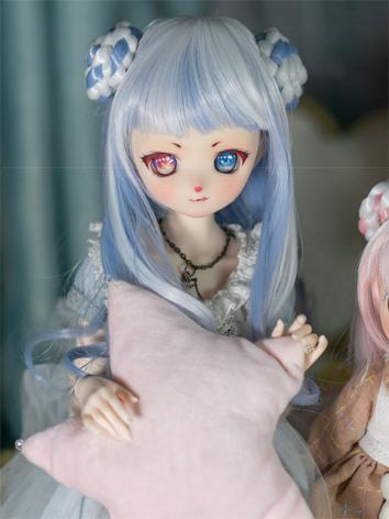 BJD Wig Girl Pink/Blue Curly Hair for SD/MSD/YOSD Size Ball-jointed Doll