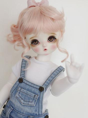 BJD Wig Girl Curly Pink Hair for SD Size Ball-jointed Doll