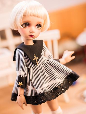 BJD Clothes Girl Striped Dress+Socks Suit Set for YOSD Ball-jointed Doll