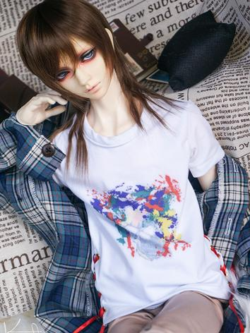 BJD Clothes Boy/Girl White Printed Shirt  for SD13/SD17/70CM Ball-jointed Doll