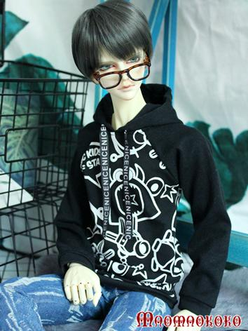 BJD Clothes Boy/Girl Black Printed Hoody T-shirt Top for 70cm/SD/MSD Ball-jointed Doll