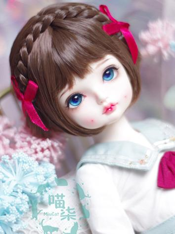 BJD Wig Girl Gold/Pink/Brow...