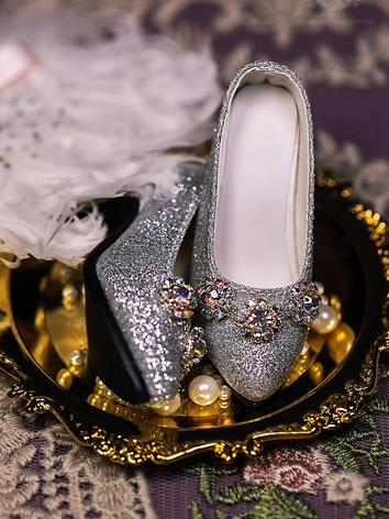 Bjd Shoes 1/3 Girl vintage jeweled silver glitter high heel court SH319081 for SD Size Ball-jointed Doll