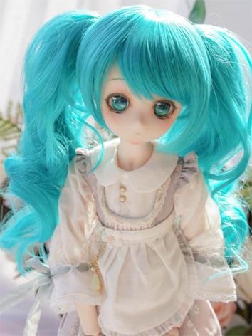 BJD Wig Girl Blue Curly Hair for SD Size Ball-jointed Doll