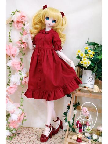 BJD Clothes Outfit Girl red Dress for SD/MSD Ball Jointed Doll