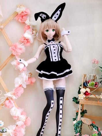 BJD Clothes Black and White Bunny Rabbit Dress for SD/MSD Ball Jointed Doll