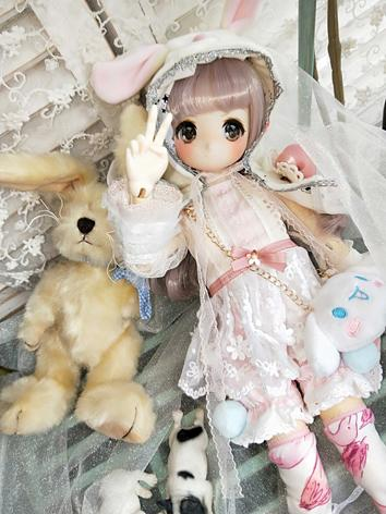 BJD Clothes Girl Sweet Rabbit Dress Set for SD/MSD/YOSD Ball-jointed Doll