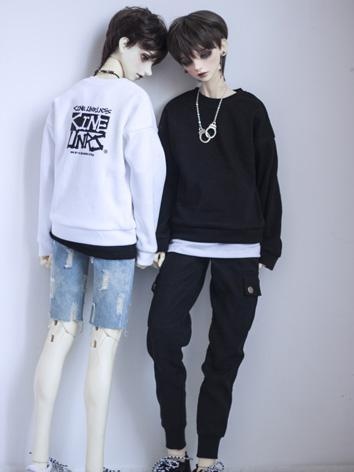 BJD Outfit 1/3 1/4 70cm Boy/Girl White/Black T-shirt Hoody for MSD/SD/70cm Size Ball-jointed Doll