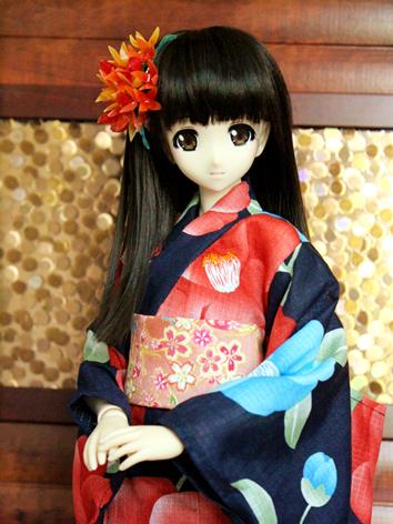 BJD Clothes Girl Red Printed Yukata Kimino Outfit for SD10/MSD size Ball-jointed Doll