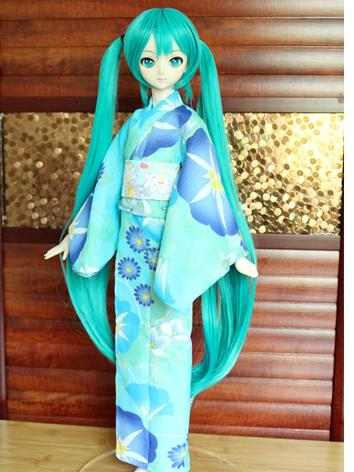 BJD Clothes Girl Blue Printed Yukata Kimino Outfit for SD10/MSD size Ball-jointed Doll