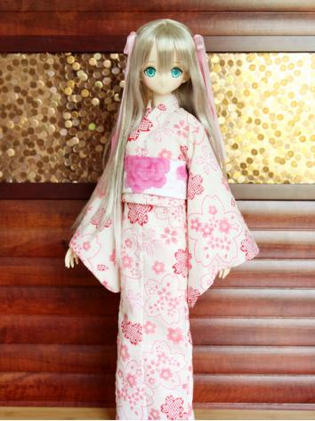 BJD Clothes Girl Pink Printed Yukata Kimino Outfit for YOSD/SD10/MSD size Ball-jointed Doll
