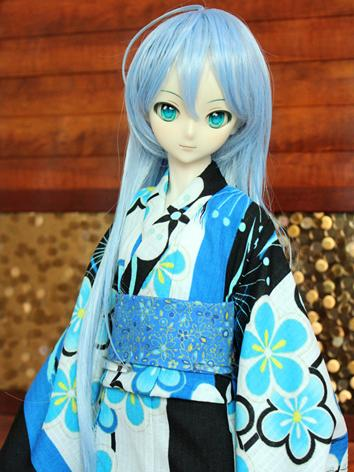 BJD Clothes Girl Blue and Black Printed Yukata Kimino Outfit for SD10/MSD size Ball-jointed Doll