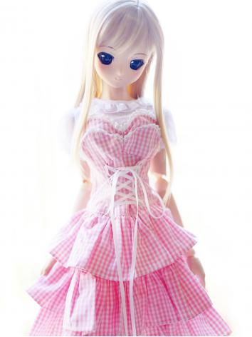 BJD Clothes Girl Pink Plaid Lace Dress for SD Ball Jointed Doll