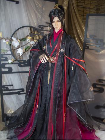 BJD Clothes Boy Black Ancient Dress Outfit Set for SD/70cm/75cm Ball-jointed Doll