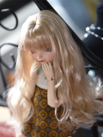 BJD Wig Girl Champagne Curly Hair for SD/MSD/YOSD Size Ball-jointed Doll