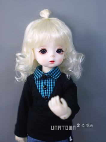 BJD Wig Girl White Curly Hair for YOSD Size Ball-jointed Doll