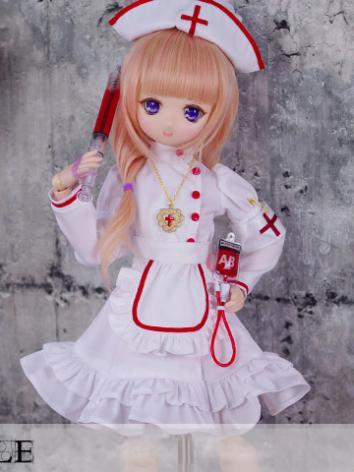 BJD Clothes MSD/MDD Girl White Nurse Dress Set for Ball-jointed Doll