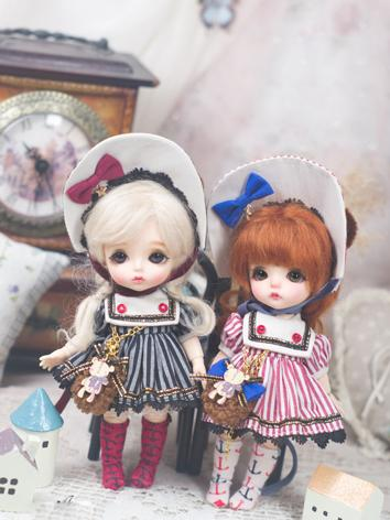 BJD Clothes 1/6 Girl/Boy Pink/Black  Stripe Dress Set for YOSD Ball-jointed Doll