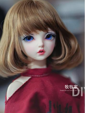 BJD Wig Girl Flaxen Short H...