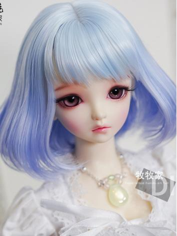 BJD Wig Girl Blue Short Hai...