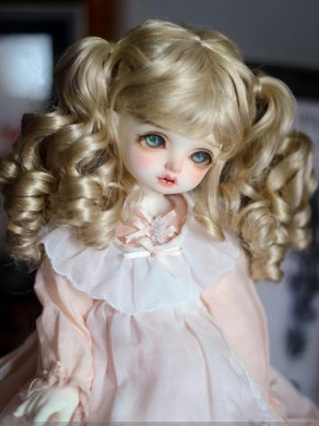 BJD Wig Gold Girl Long Double Bunches Curly Hair 1/3 Wig for SD/DD Size Ball-jointed Doll