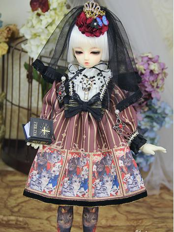BJD Clothes Girl Dark Red D...