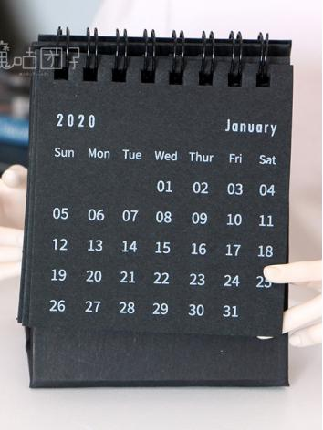 BJD Background/Scenery/Backdrop Photography Black 2020 Desk Calendar for Ball-jointed Doll