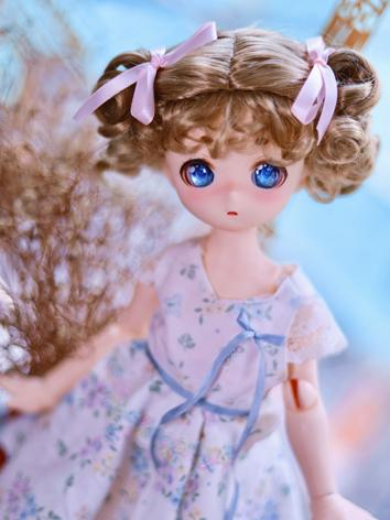BJD Wig Girl Brown Curly Hair for SD/MDD Size Ball-jointed Doll