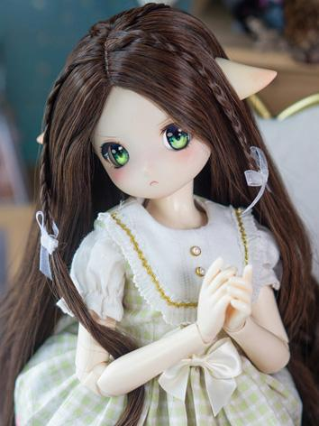 BJD Wig Girl Brown Long Curly Hair for SD/MSD/YOSD Size Ball-jointed Doll