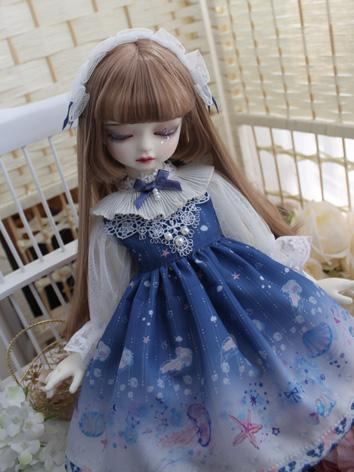 BJD Clothes Girl Dark Blue Dress for MSD/YOSD Size Ball-jointed Doll
