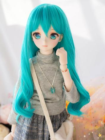 BJD Wig Girl Blue Long Curly Hair for SD Size Ball-jointed Doll