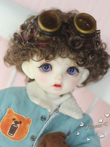 1/8 Wig Girl  Brown/Pink Curly Hair for BB Size Ball-jointed Doll