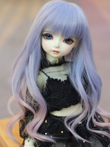 BJD female Purple Pink Curly Hair Wig for 1/3 1/4 SD/MSD Size Ball-jointed Doll