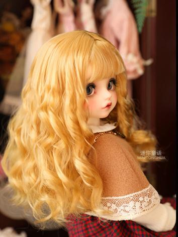BJD Wig Girl Golden/ Brown ...