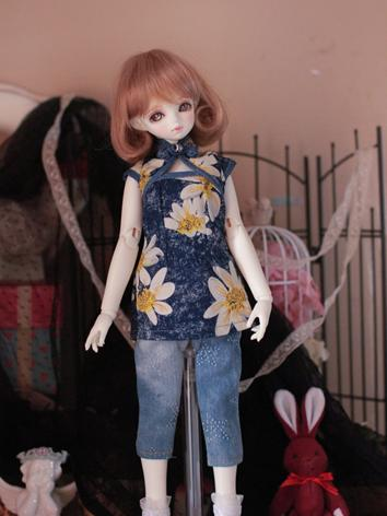 Bjd Clothes Girl Casual Cheongsam Jeans Set 1/4 for MSD Ball-jointed Doll