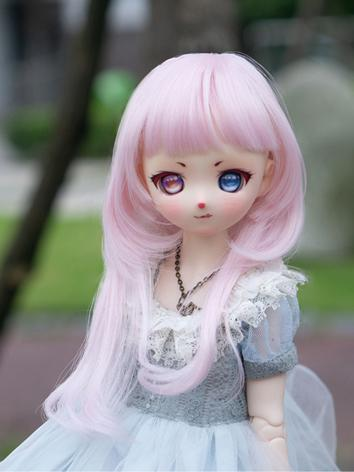 BJD Wig Girl Pink/Brown Lon...