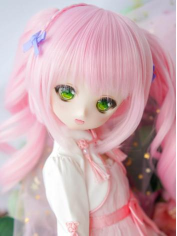 BJD Wig Girl Pink Pigtail w...