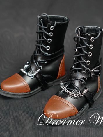 BJD Shoes Boy Black Retro Boots Shoes for SD Ball-jointed Doll