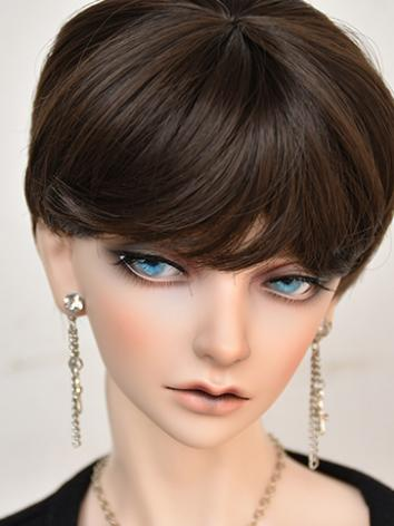 BJD Boy Wig Brown/Pink Short Hair Wig for SD/MSD/YOSD Size Ball-jointed Doll