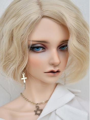 BJD Light Golden/Silver/Pink Short Curly Hair Wig for SD/MSD/YOSD Size Ball-jointed Doll