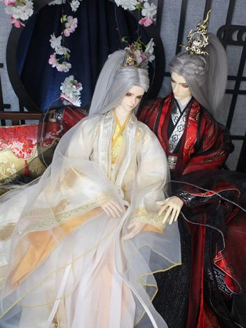 BJD Clothes Boy Red&Black/White&Golden Ancient Outfit Set (Jiu chong yun miao)for SD/70cm/75cm Ball-jointed Doll