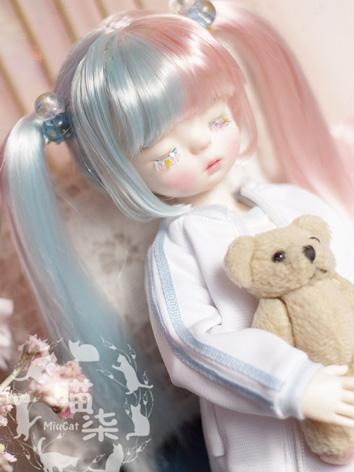 BJD Wig Girl Blue&Pink/Blac...