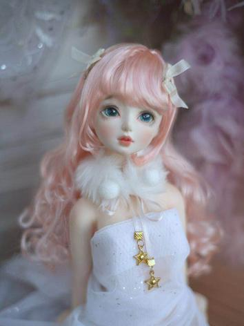 BJD Wig Girl Light Pink Cur...