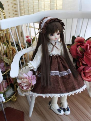 BJD Clothes Girl Brown Western Style Dress for SD/MSD/YOSD/Blythe Size Ball-jointed Doll