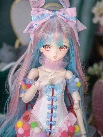 BJD Wig Girl Pink&Blue Long Hair for SD/MSD Size Ball-jointed Doll