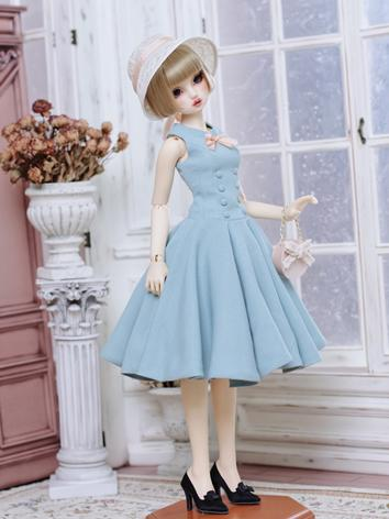 1/3 1/4 Clothes BJD Girl Pinnk/Blue Retro Western Style Dress for SD/MSD Ball-jointed Doll